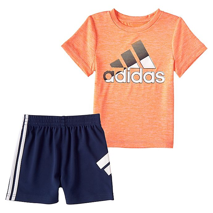 Alternate image 1 for adidas® Size 24M 2-Piece In Motion T-Shirt and Shorts Set in Orange