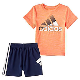 adidas® 2-Piece In Motion T-Shirt and Shorts Set in Orange