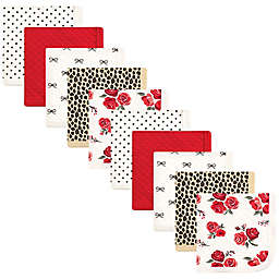 Hudson Baby® 10-Pack Rose Leopard Quilted Cotton Washcloths in Red