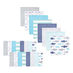 Hudson Baby® 24-Pack Sharks Rayon from Bamboo Washcloths in Blue