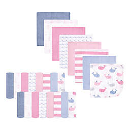 Hudson Baby® 24-Pack Pink Whale Rayon from Bamboo Washcloths