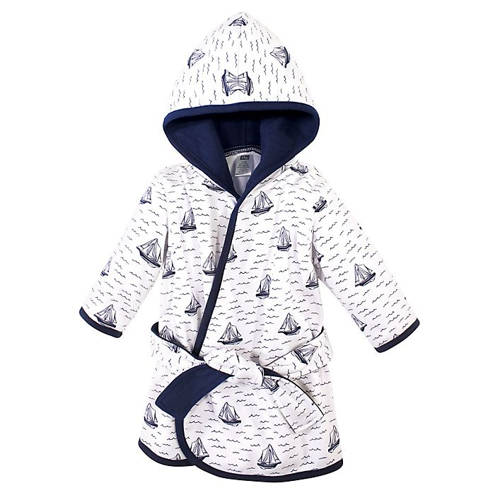 Alternate image 1 for Hudson Baby® Size 0-9M Sailboat Cotton Rich Bathrobe in Blue