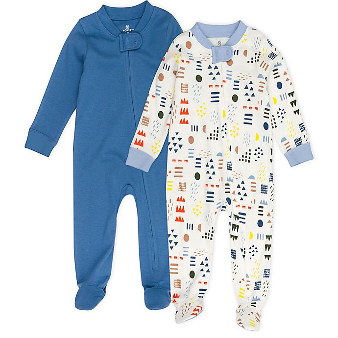 Alternate image 1 for The Honest Company® Size 12M 2-Pack Solid and Pattern Footed Pajamas in Blue/Ivory