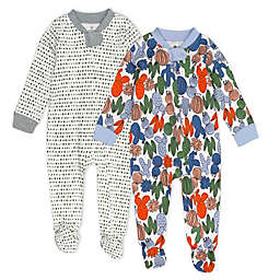 The Honest Company® 2-Pack Cactus Organic Cotton Footed Pajamas in Green