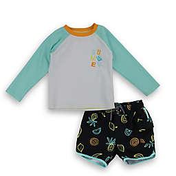 Sovereign Code® 2-Piece Swim Shirt and Swim Trunks Set in Black/White