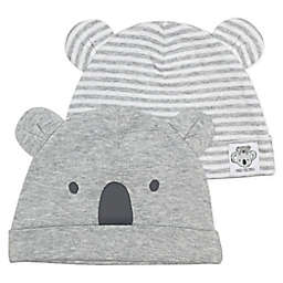 Mac & Moon Size 0-3M 2-Pack Koala Caps in Grey