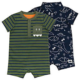 Mac & Moon 2-Pack Dinosaur Organic Cotton Rompers in Olive