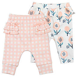 Mac & Moon® 2-Pack Organic Cotton Pants in Bunny Floral/Pink Gingham Print
