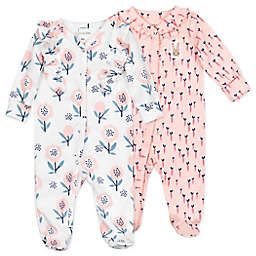 Mac & Moon 2-Pack Bunny Floral Organic Cotton Sleep & Plays in Pink