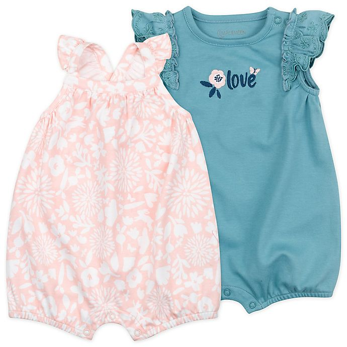 Alternate image 1 for Mac & Moon 2-Pack Bunny Floral Sleeveless Organic Cotton Rompers in Teal