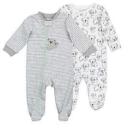 Mac & Moon 2-Pack Koala Stripe Organic Cotton Sleep & Plays in White