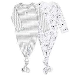 Mac & Moon® Newborn 2-Pack Koala Organic Cotton Gowns in Grey