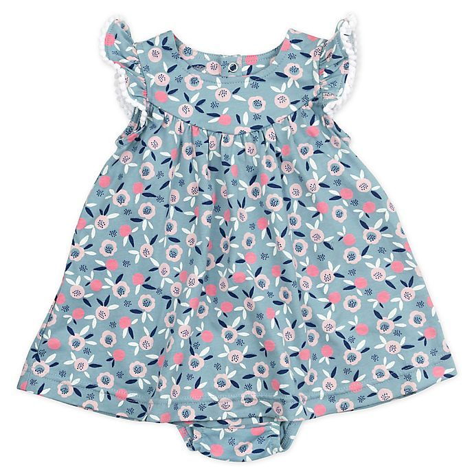 Alternate image 1 for Mac & Moon® 2-Piece Bunny Floral Print Dress and Diaper Cover Set in Teal