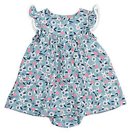 Mac & Moon® 2-Piece Bunny Floral Print Dress and Diaper Cover Set in Teal