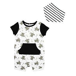 Mini Heroes™ 2-Piece Turtle Romper and Bandana Set in Black