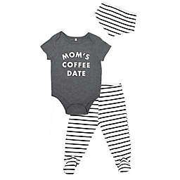 "Mini Heroes™ 3-Piece ""Mom's Coffee Date"" Bodysuit, Pant and Bandana Set in Grey"