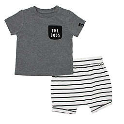 Mini Heroes™ 2-Piece The Boss Shirt and Short Set in Grey