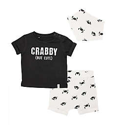 Mini Heroes™ 3-Piece Crabby T-Shirt, Short, and Bandana Set in Grey