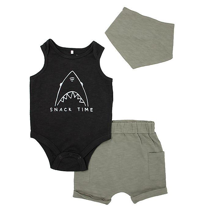 Alternate image 1 for Mini Heroes™ Size 24M 3-Piece Shark Bodysuit, Short, and Bandana Set in Grey