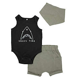 Mini Heroes™ Size 18M 3-Piece Shark Bodysuit, Short, and Bandana Set in Grey