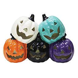 Ceramic LED Halloween Pumpkin Stack