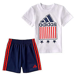 adidas® 2-Piece Americana T-Shirt and Shorts Set in White/Navy