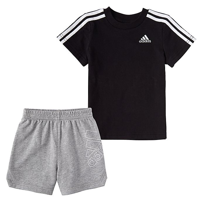 Alternate image 1 for adidas® 2-Piece T-Shirt and French Terry Short Set in Black/Grey