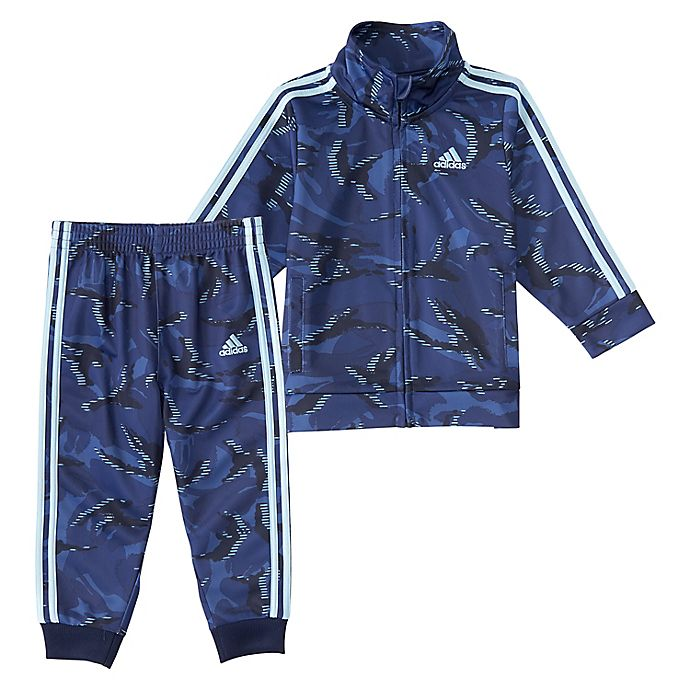 Alternate image 1 for adidas® 2-Piece Action Camo Tricot Jacket and Jogger Set in Blue