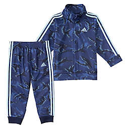 adidas® 2-Piece Action Camo Tricot Jacket and Jogger Set in Blue