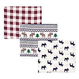 Little Treasure 3-Pack Moose Sweater Muslin Blankets in Blue