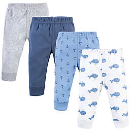 Hudson Baby® Size 9-12M 4-Pack Nautical Theme Pants in Blue