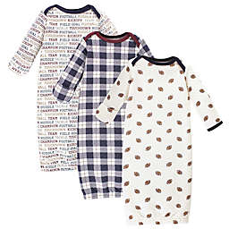 Hudson Baby Size 0-6M 3-Pack Football Quilted Gowns