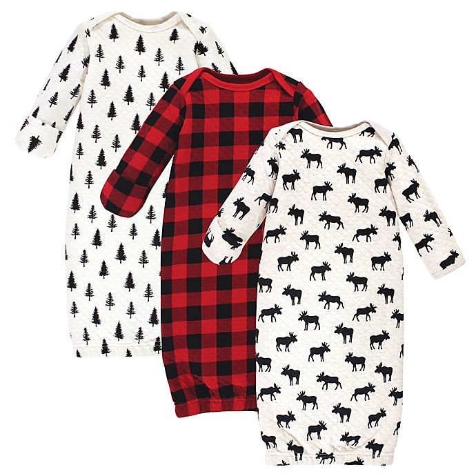 Alternate image 1 for Hudson Baby® Size 0-6M 3-Pack Moose Quilted Gowns in Red