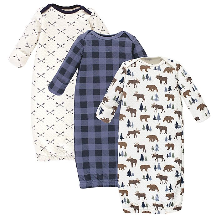 Alternate image 1 for Hudson Baby Size 0-6M 3-Pack Moose & Bear Quilted Gowns