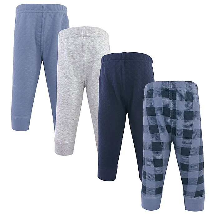 Alternate image 1 for Hudson Baby® Size 9-12M 4-Pack Quilted Plaid Jogger Pants in Navy