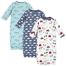 Hudson Baby Size 0-6M 3-Pack Farm Animals Quilted Gowns