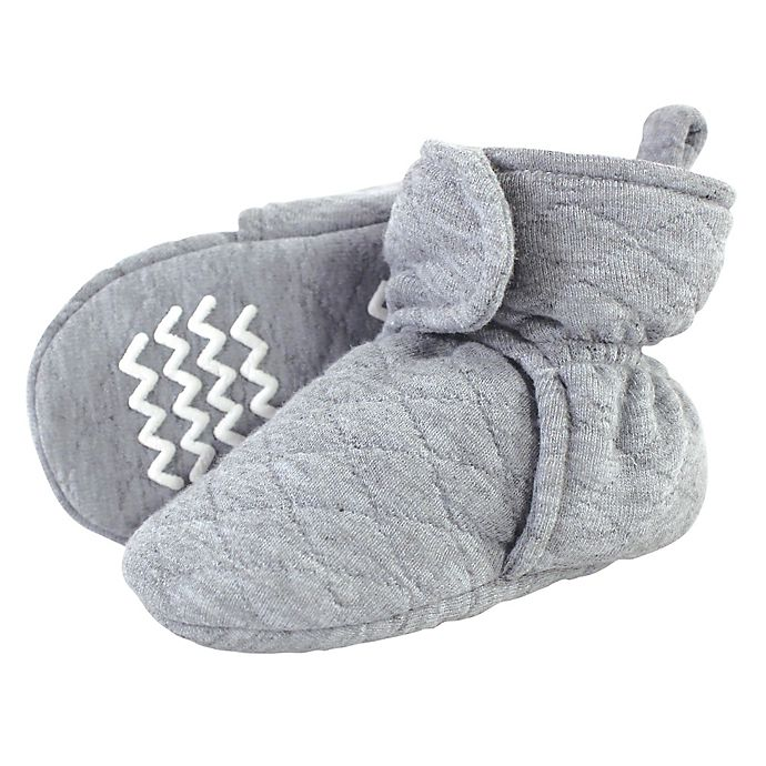 Alternate image 1 for Hudson Baby® Size 6-12M Quilted Booties in Heather Grey