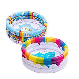 2-Piece Rainbow Inflatable Kiddie Pool Set