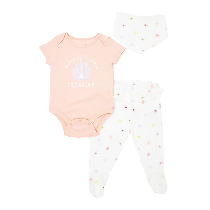 Alternate image 1 for Mini Heroes™ 3-Piece Mommy's Treasure Bodysuit, Pant, and Bandana Set in Coral