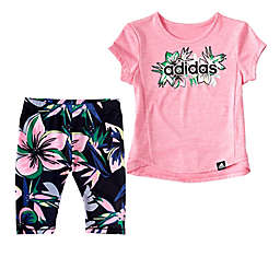 adidas® 2-Piece Short Sleeve Top and Capri Tight Set