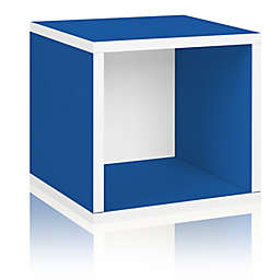 Way Basics Eco zBoard paperboard Tool-Free Assembly Stackable Storage Cube in Blue