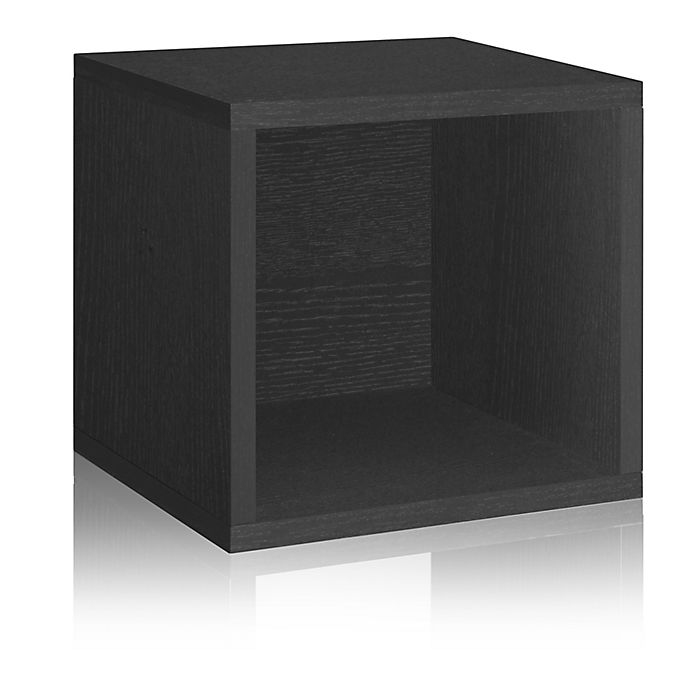 Alternate image 1 for Way Basics Tool-Free Assembly zBoard paperboard Stackable Storage Cube in Black Wood Grain
