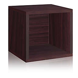Way Basics Tool-Free Assembly zBoard paperboard Stackable Storage Cube in Espresso Wood Grain