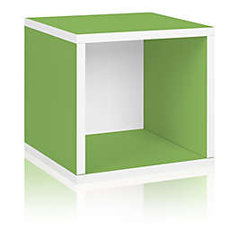 Way Basics Tool-Free Assembly zBoard paperboard Stackable Storage Cube in Green