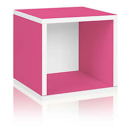 Way Basics Eco zBoard paperboard Tool-Free Assembly Stackable Storage Cube in Pink