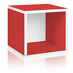 Way Basics Eco zBoard paperboard Tool-Free Assembly Stackable Storage Cube in Red