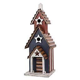Glitzhome® Patriotic Wooden Multicolor Birdhouse