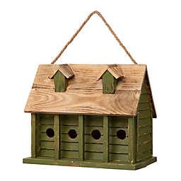 Glitzhome® Distressed Farmhouse Style Wooden Garden Birdhouse in Green
