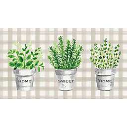 "Bee & Willow™ Home Potted Herbs 20"" x 36"" Comfort Kitchen Mat in Blue"