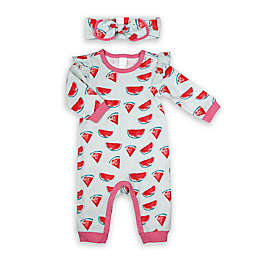 Modern Baby® Size 24M 2-Piece Watermelon Coverall and Headband Set in Teal
